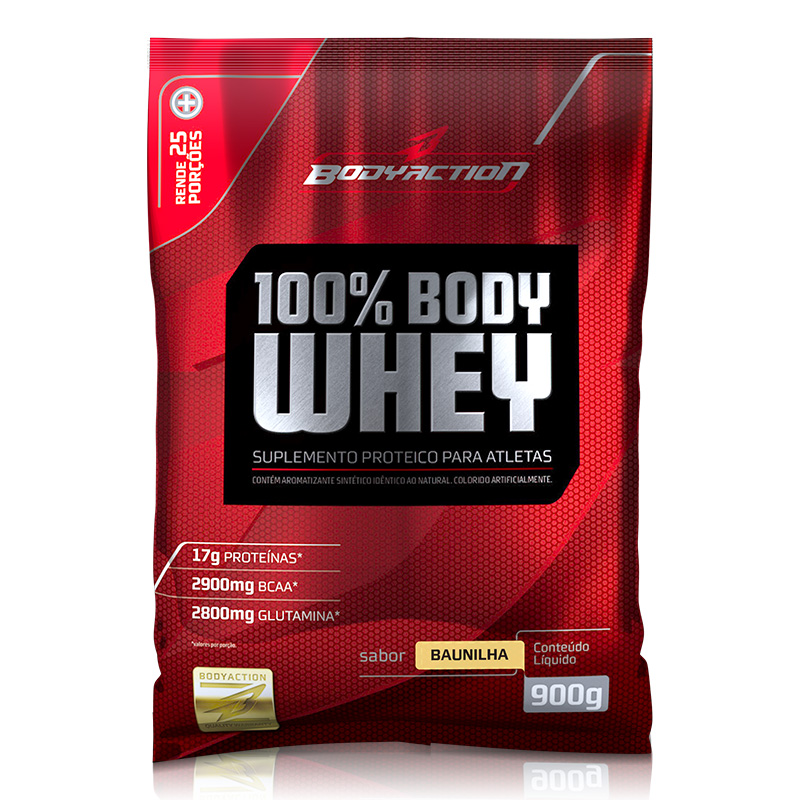 100% Body Whey (900g) Body Action -Baunilha