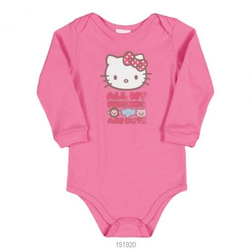 Body Infantil Bebê Hello Kitty Suedine Manga Longa 0851.87255