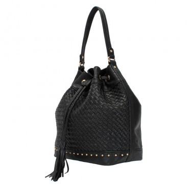 d5bc91601 Bizz Store - Bolsa Saco Feminina WJ Grande Couro Sintético Preta