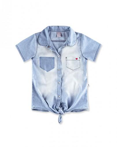 Camisa Jeans Infantil Hering Kids Manga Curta C75njel7k