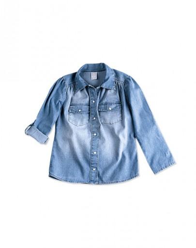 Camisa Jeans Infantil Hering Kids Manga Longa C758jejpx