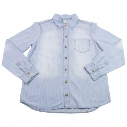 Bizz Store - Camisa Jeans Infantil Masculina Hering Kids Azul 1fa457e423d