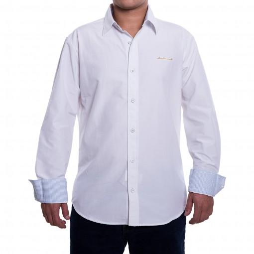 Bizz Store - Camisa Social Masculina Acostamento Manga Longa Branca fcb0cead62cf5