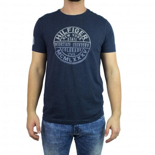 893a53bd611b6 Bizz Store - Camiseta Masculina Tommy Hilfiger Azul Estampada