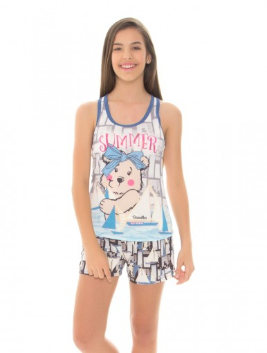 Pijama Infantil Feminino Recco Baunilha Microfibra 09567