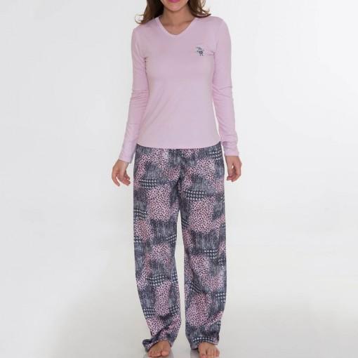 Pijama Recco Comprido de Viscose e Charmeuse 08149