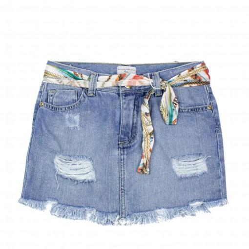 Saia Jeans Infantil Feminina Acostamento Kids 68827053
