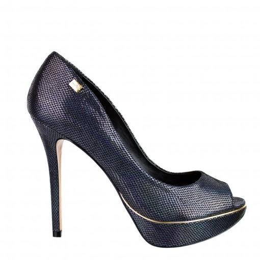 bbaf4f55e Bizz Store - Sapato Peep Toe Feminino Luz da Lua Salto Alto Preto