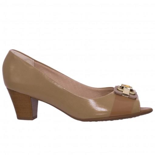 Sapato Peep Toe Feminino Piccadilly Napa/Verniz 714072