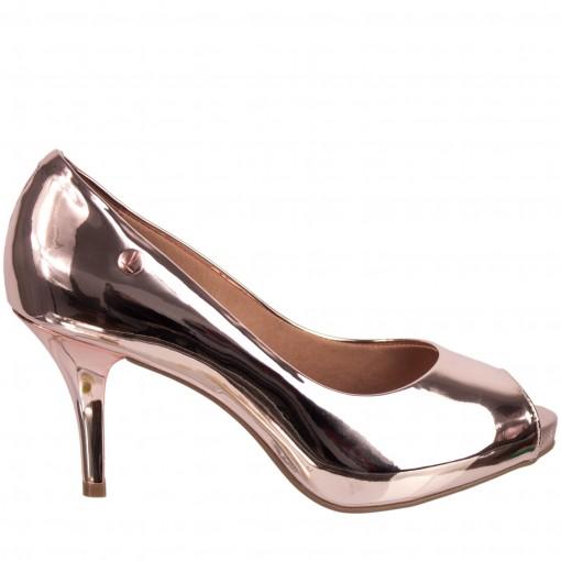Sapato Peep Toe Metalizado Vizzano Metal Glamour 1781.607