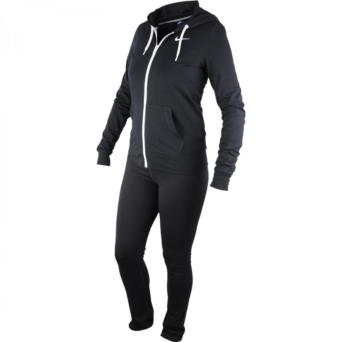 Bizz Store - Agasalho Feminino Nike Jersey Cuffed Preto Esportivo 831675d344cb0