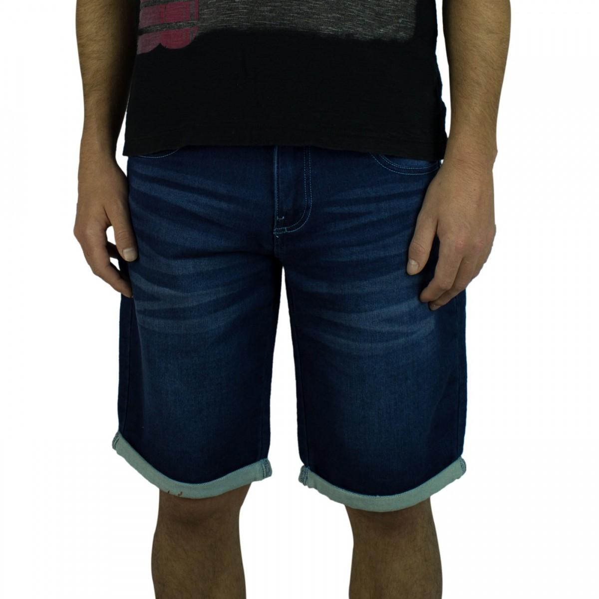 Bizz Store - Bermuda Jeans Moletom Masculina Gangster Azul ab927e20f9f58