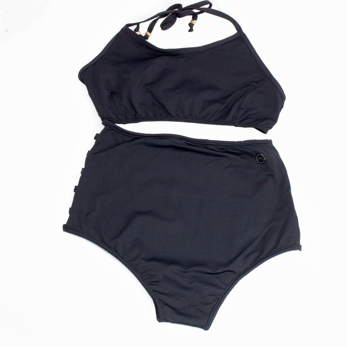 Bizz Store - Biquíni Cintura Alta Rosa Tatuada Preto Feminino fc52e3f2463