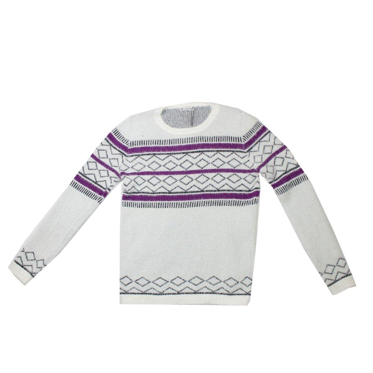 ea27a5d5d7cbf Bizz Store - Blusa De Lã Feminina Mosaico Vip Branca