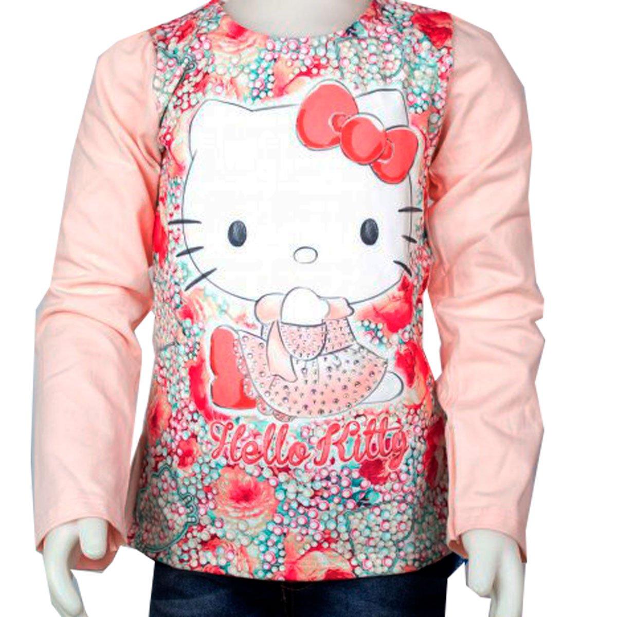 9991eee848 Bizz Store - Blusa Infantil Feminina Manga Longa Hello Kitty