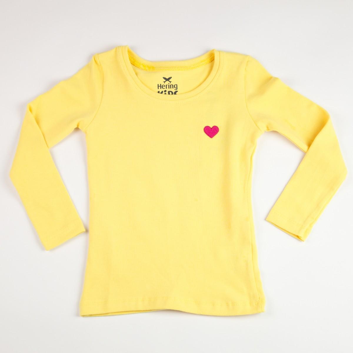 Bizz Store - Blusa Infantil Feminina Hering Kids Básica Amarelo 4d0e26c1fe8