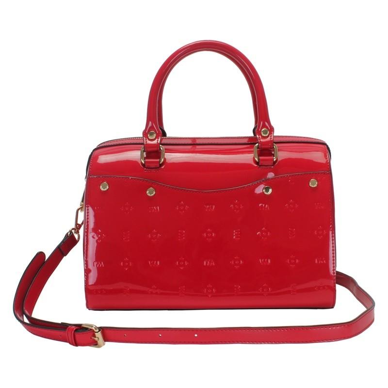79e9ff227 Bizz Store - Bolsa Feminina WJ Baú Verniz Média Preta/Branca/Vermelha