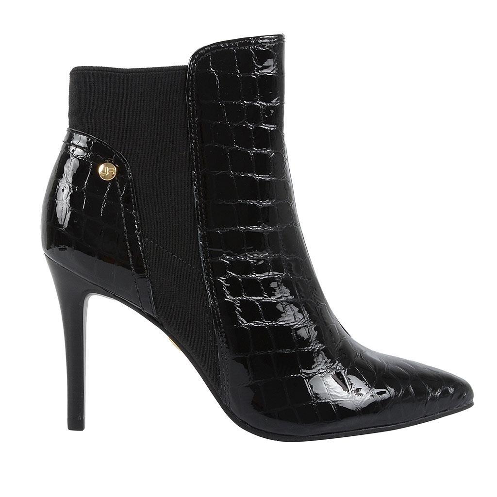 a955fbdef4f Bizz Store - Bota Ankle Boot Jorge Bischoff Croco Verniz Preta