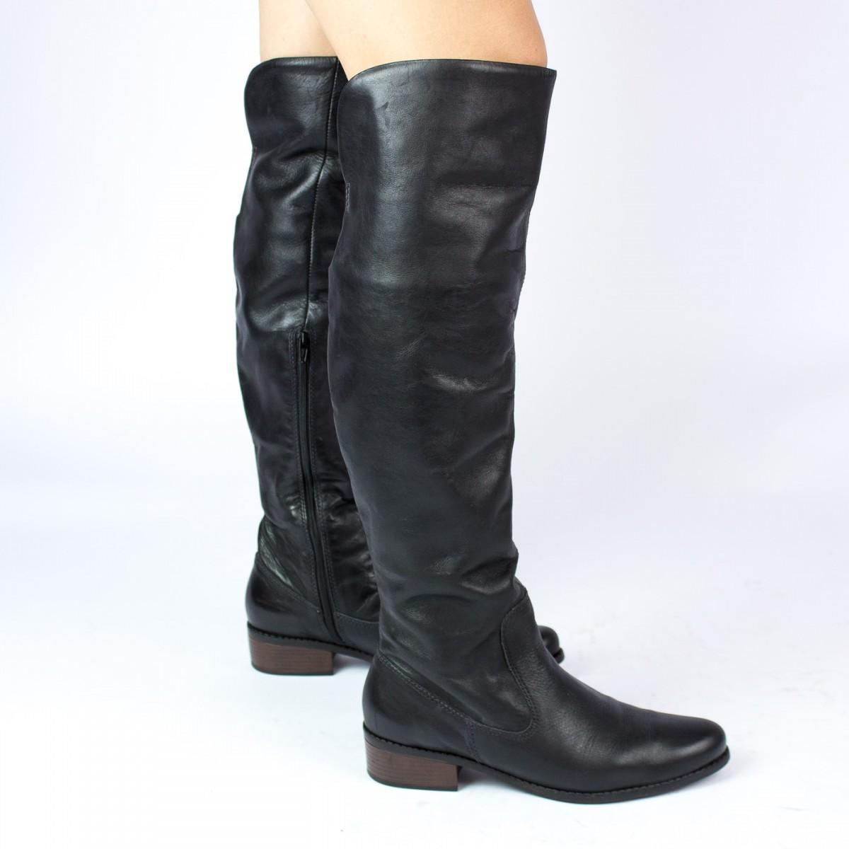 Bizz Store - Bota Bottero Over Knee Couro Natural Feminina Preta a0f6010cd4