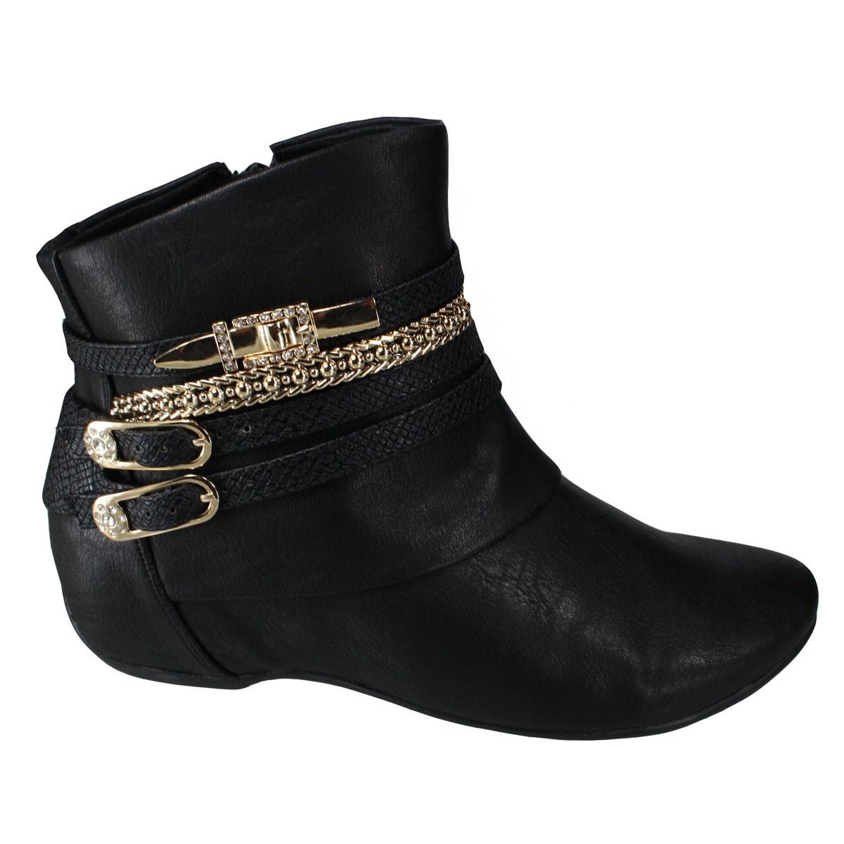 20713e0613 Bizz Store - Bota Feminina Comfortflex Cano Curto Preta Rasteira