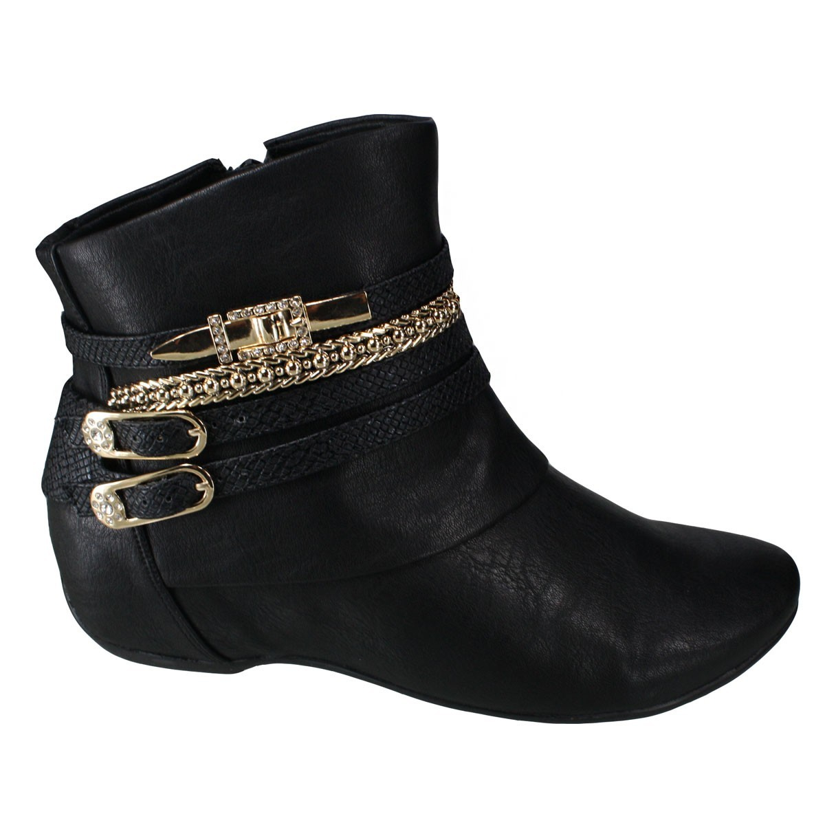 ad2dd6885 Bizz Store - Bota Feminina Comfortflex Cano Curto Preta Rasteira