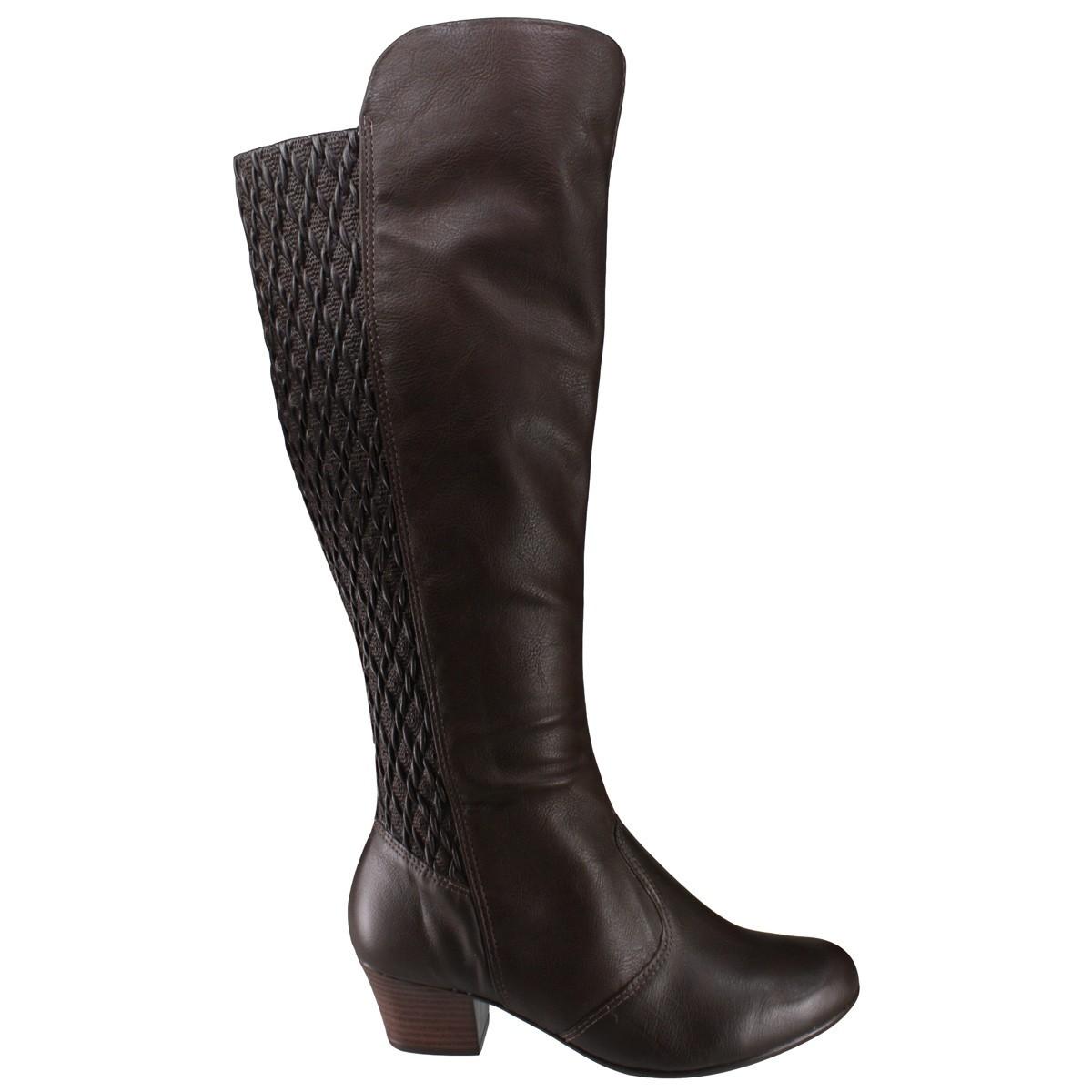 Bizz Store - Bota Feminina Comfortflex Soft Cano Alto Couro 99058cb584