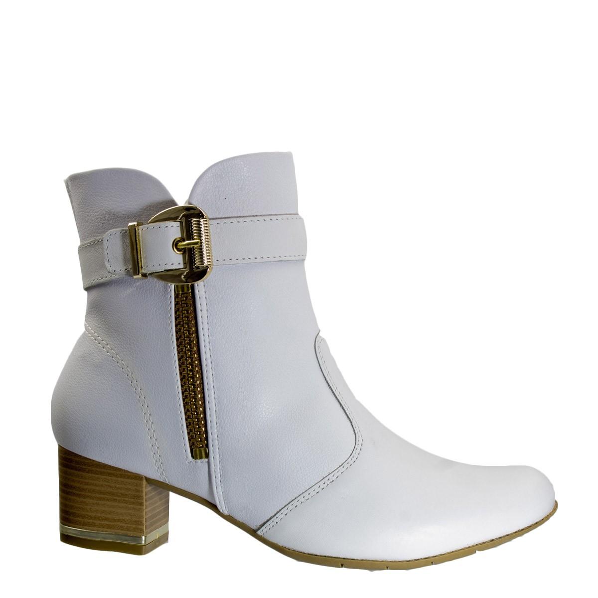ad5102002 Bizz Store - Bota Feminina Comfortflex Branca Cano Curto