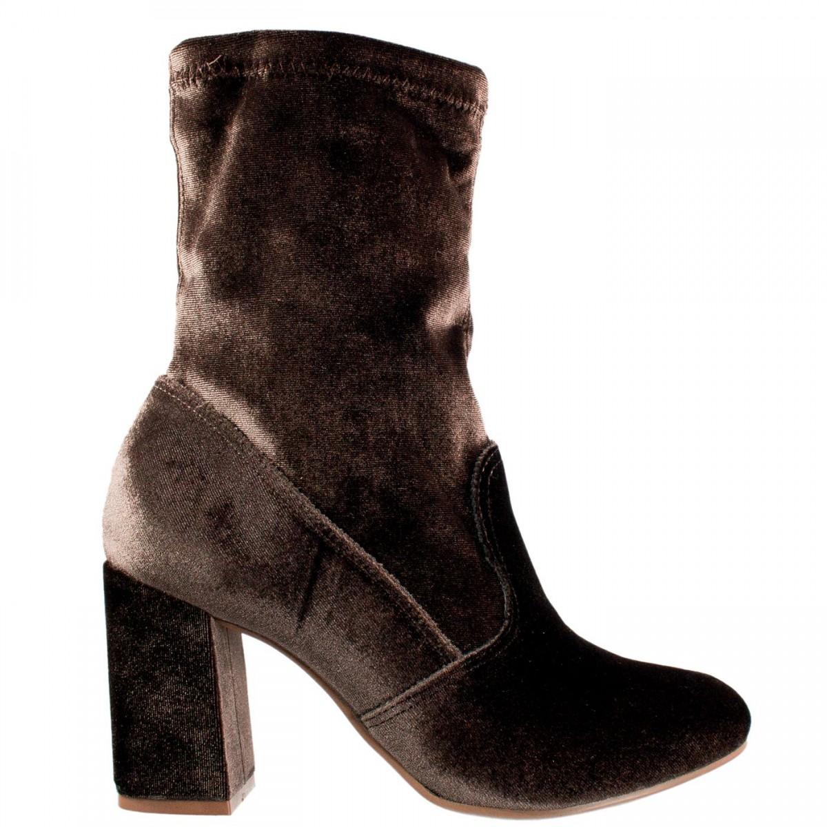 91687017c2 Bizz Store - Bota Feminina Via Marte Veludo Stretch Salto Grosso