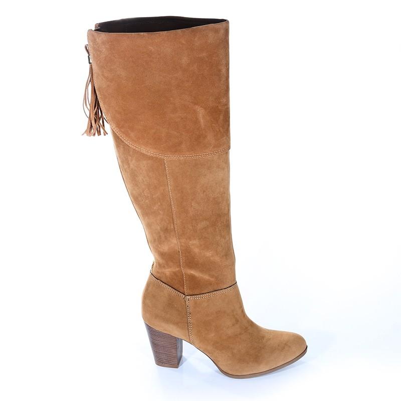 2b48ec3d8e Bizz Store - Bota Over Knee Via Marte Camurça Feminina Camel