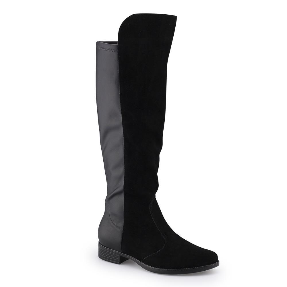 6e3eb61048 Bizz Store - Bota Feminina Over The Knee Vizzano Camurça Preta