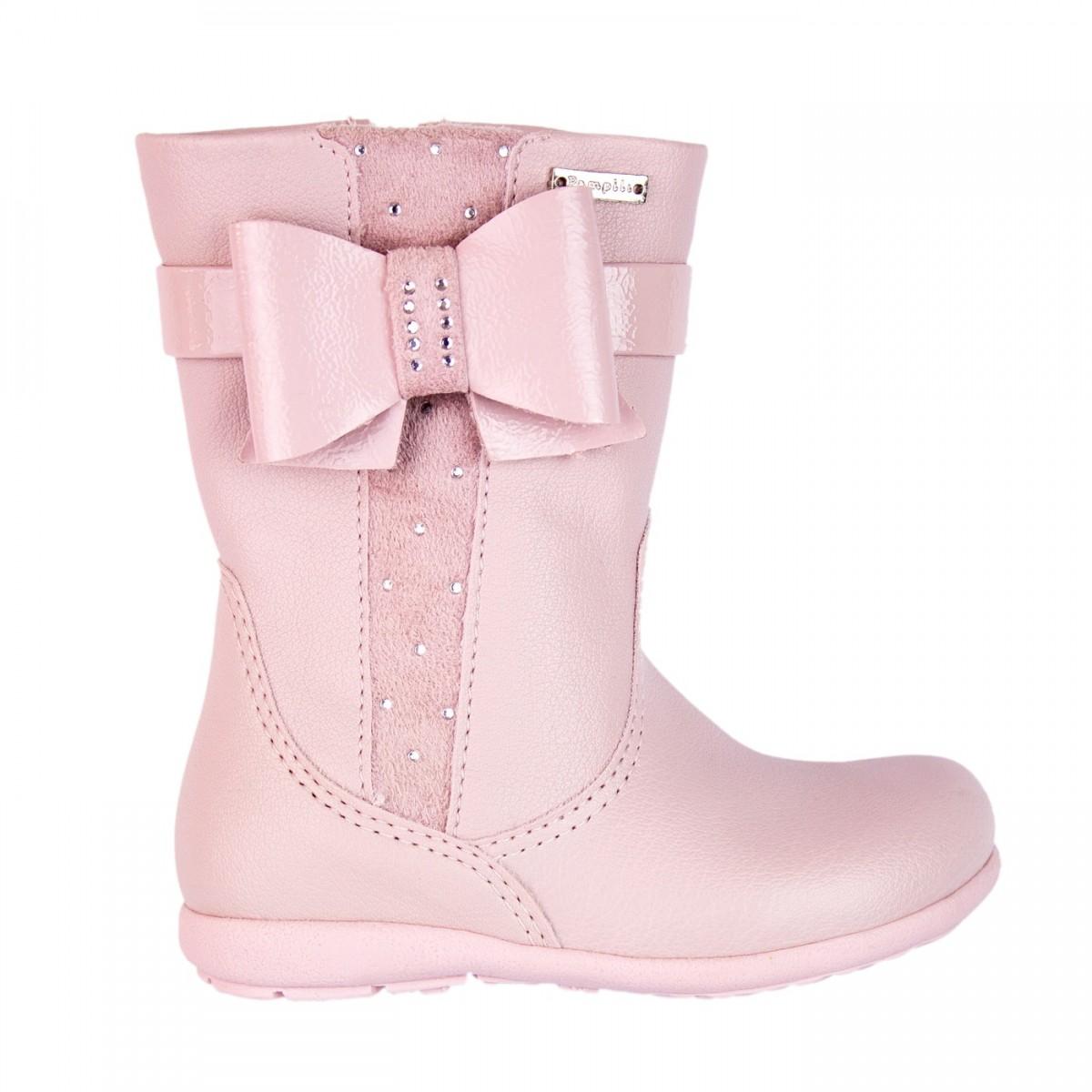 4c628e1f15 Bizz Store - Bota Infantil Feminina Pampili Alice Rosa Couro