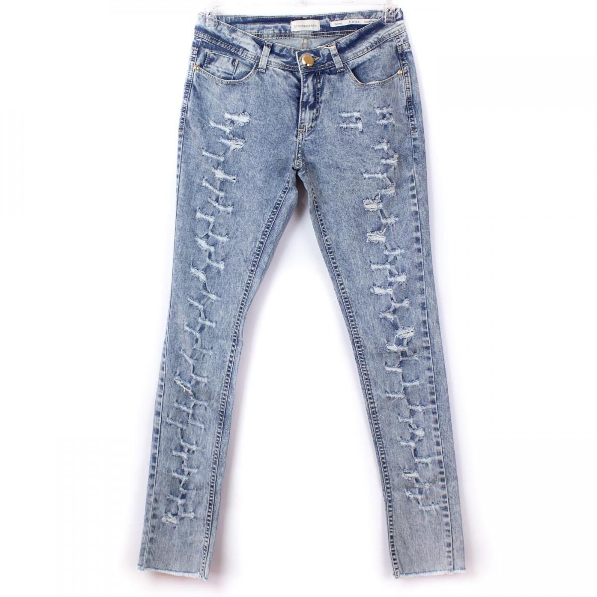 Bizz Store - Calça Jeans Feminina Acostamento Destroyed Skinny fd5015b1c3b