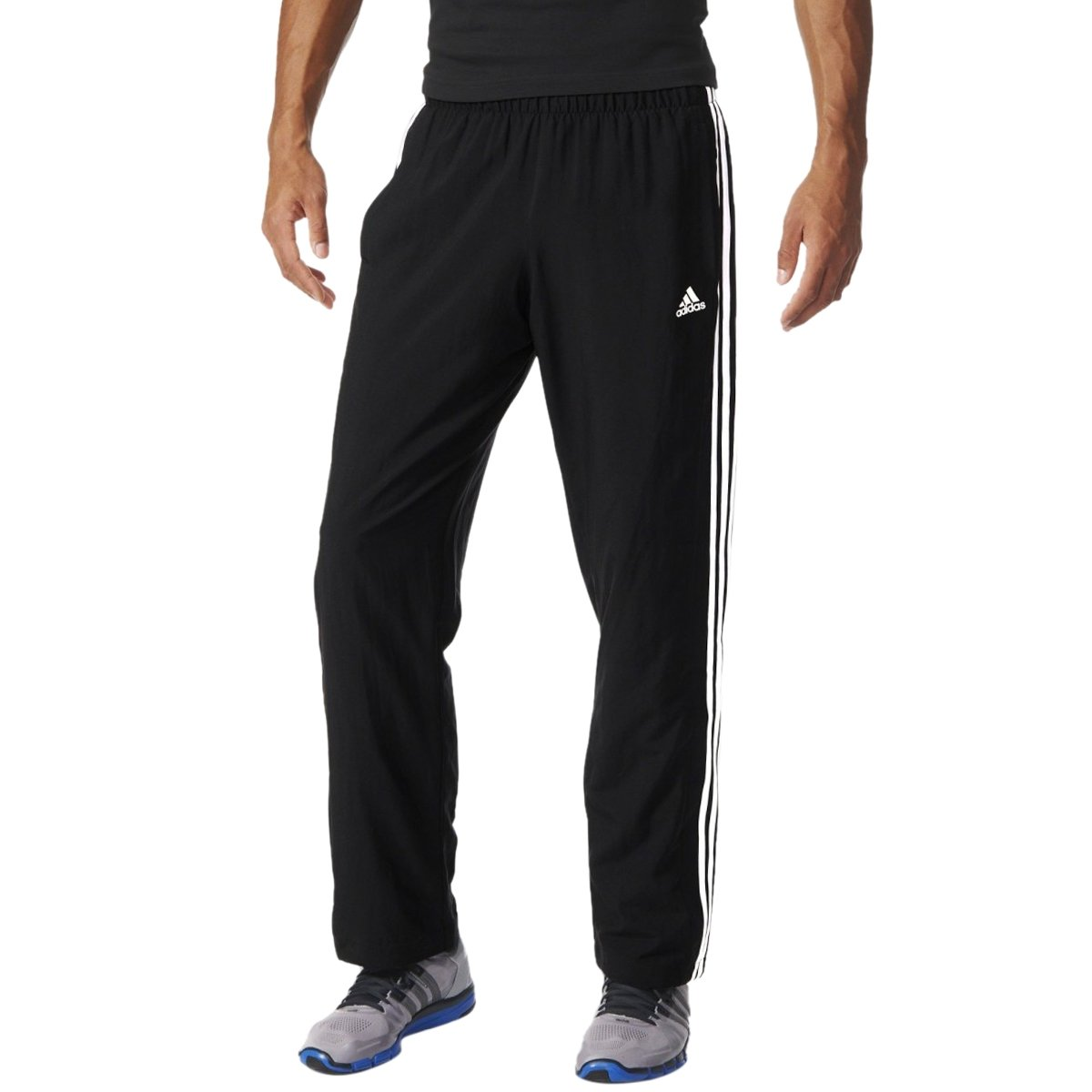 Bizz Store - Calça Masculina Adidas Woven ESS 3s Preto Esportiva 04b5bf3924752