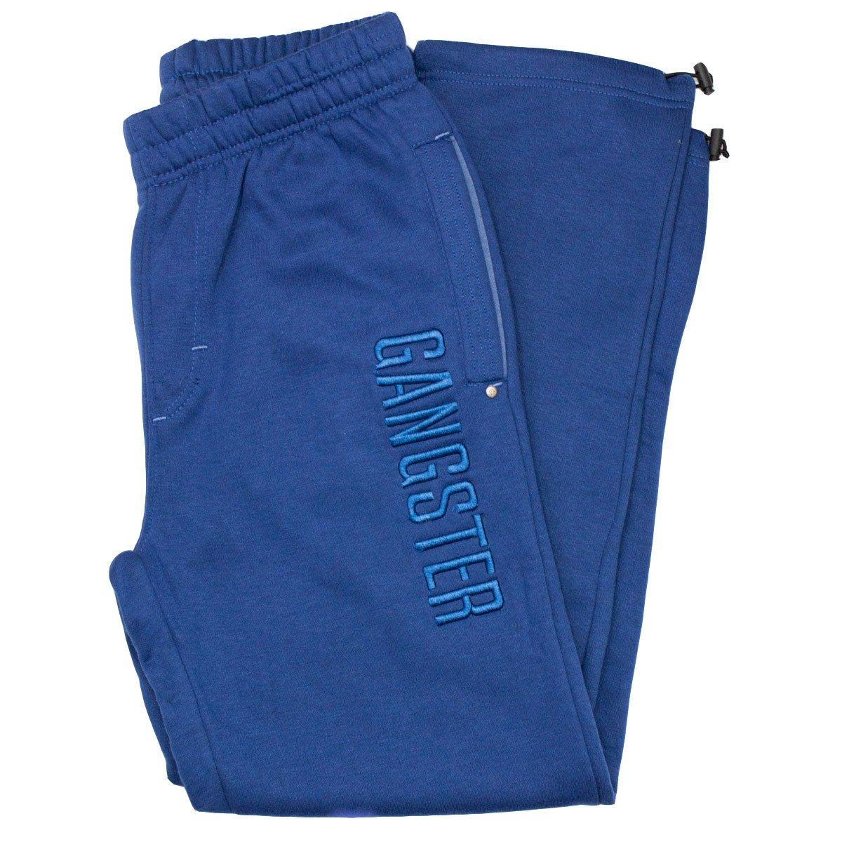 Bizz Store - Calça Masculina Gangster Moletom Azul Cinza 024d855153c52