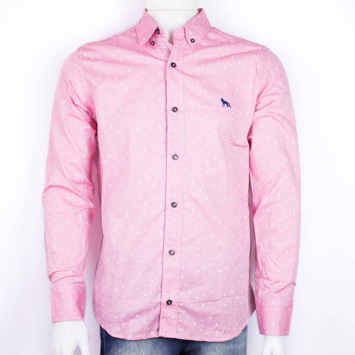 aa123fa9b4cb9 Bizz Store - Camisa Social Masculina Acostamento Rosa Vintage