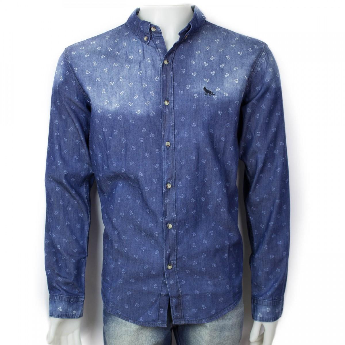 2c3a8f40278cc Bizz Store - Camisa Masculina Acostamento Jeans Azul Com Estampa