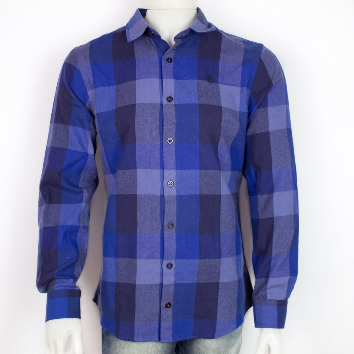 8427fd4e36 Bizz Store - Camisa Xadrez Masculina Coca-Cola Azul Manga Longa