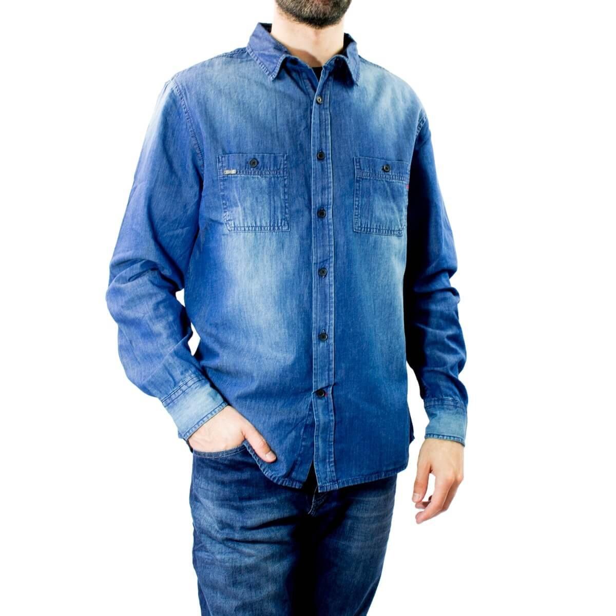 a1a19c33ed Bizz Store - Camisa Jeans Masculina Dixie Manga Longa