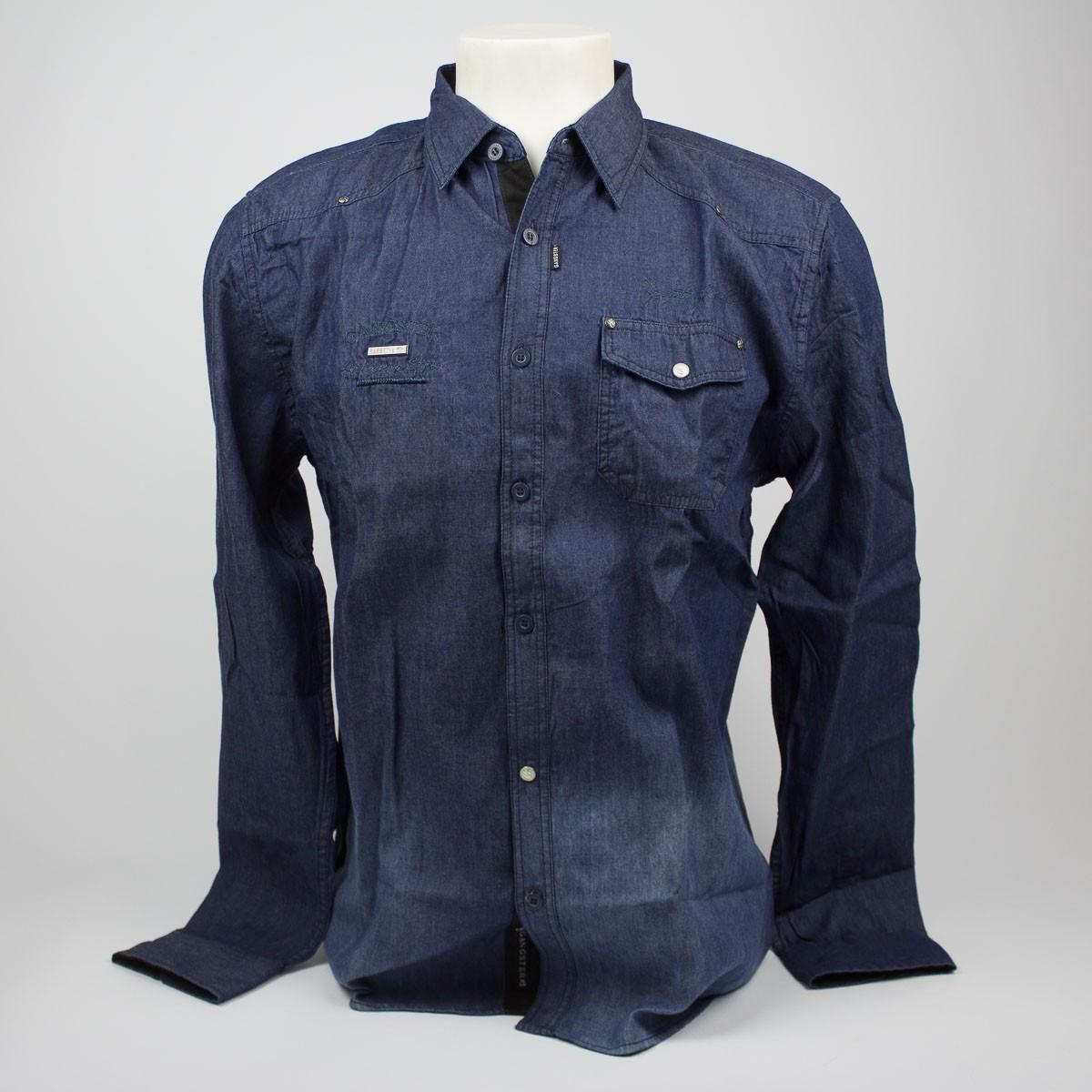 Bizz Store - Camisa Jeans Masculina Gangster Manga Longa Azul 948e309c699