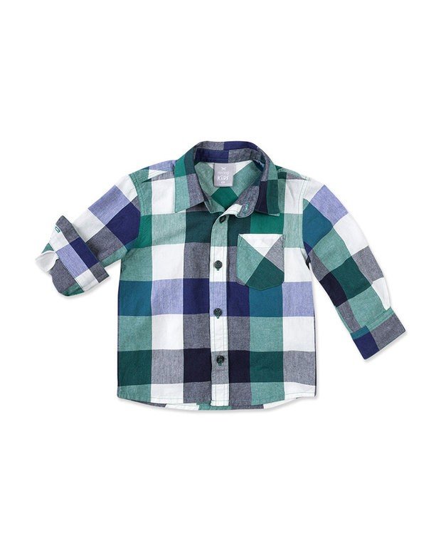 0ed74e8700 Bizz Store - Camisa Xadrez Infantil Menino Hering Kids Verde