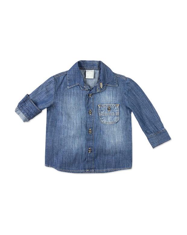 08324f984b Bizz Store - Camisa Jeans Bebê Menino Hering Kids Manga Longa