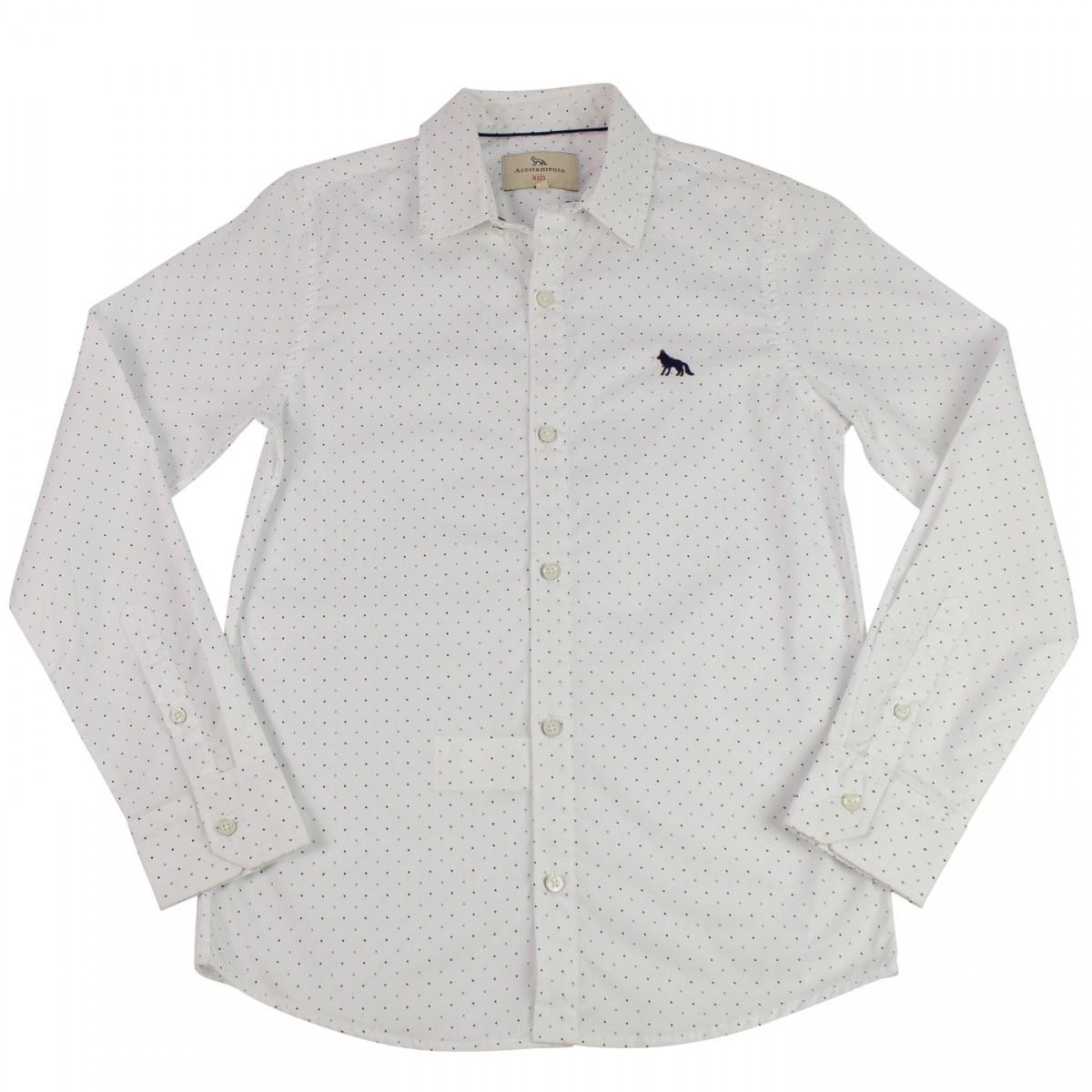 Bizz Store - Camisa Social Infantil Masculina Acostamento Branca e5261000c2bd7