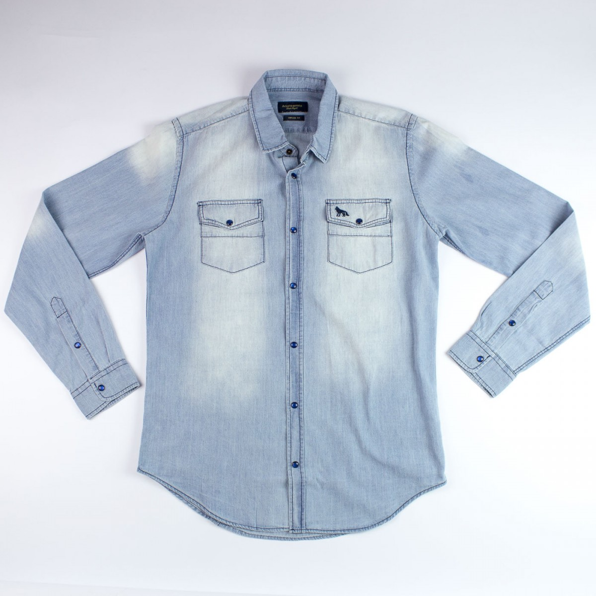 47957140b3bfc Bizz Store - Camisa Social Jeans Acostamento Masculina Azul