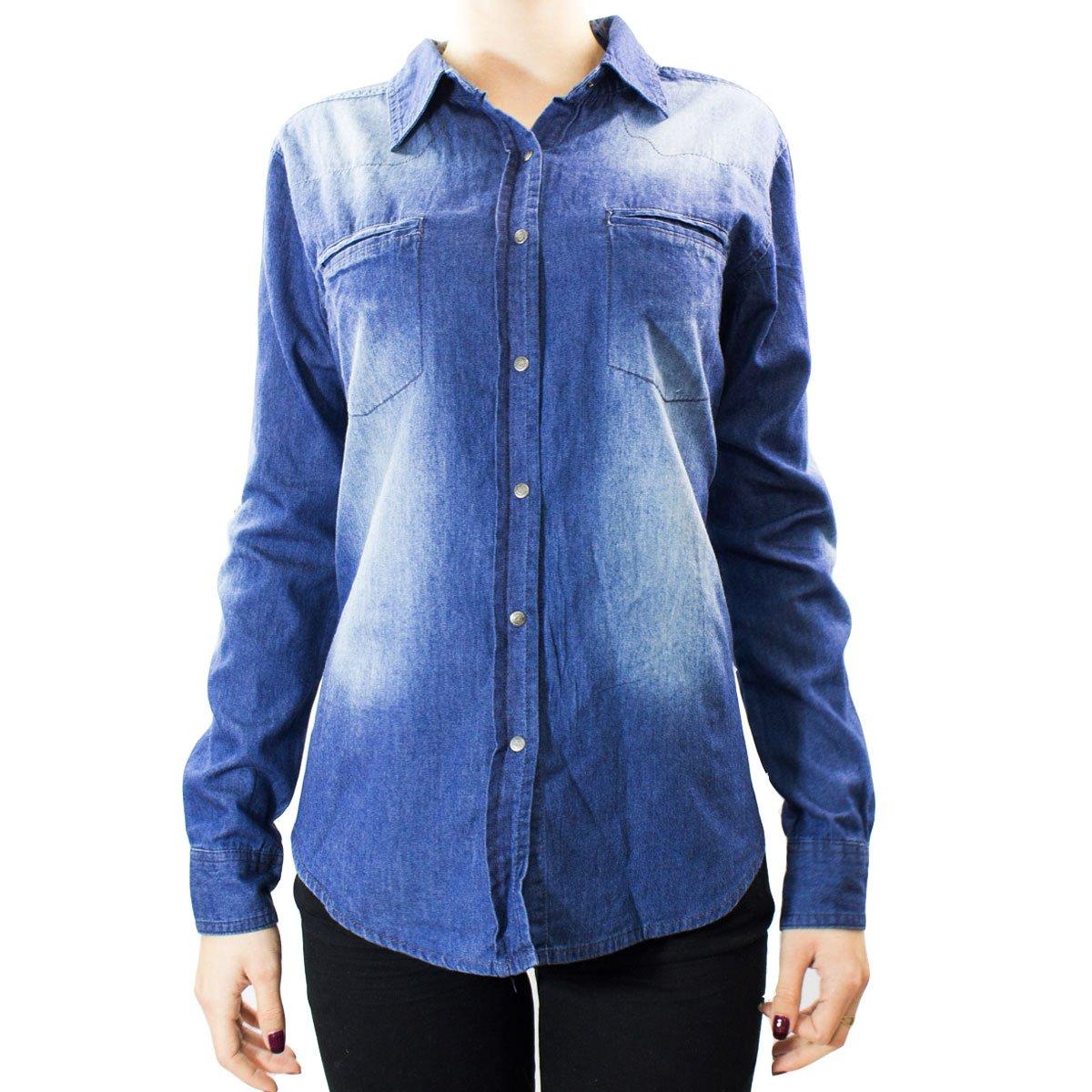4d60d7d351 Bizz Store - Camisa Jeans Feminina Mosaico Manga Longa