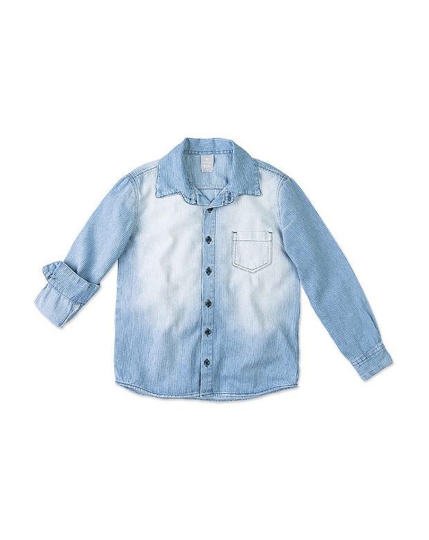 Bizz Store - Camisa Jeans Infantil Hering Kids Manga Longa 1784d1e4198