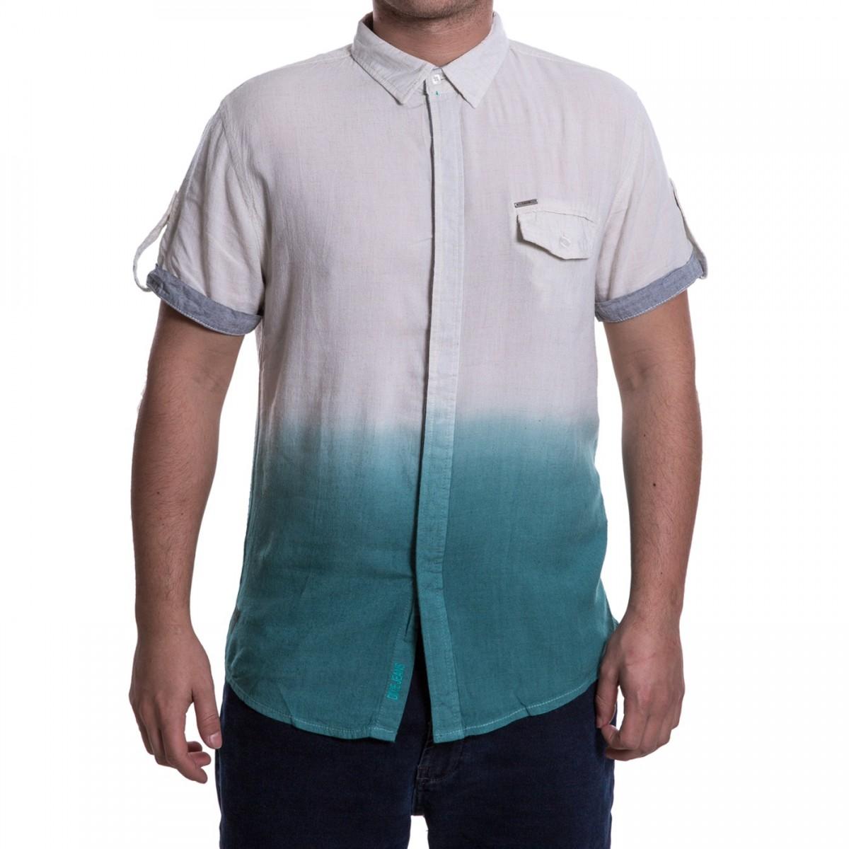 Bizz Store - Camisa Social Masculina Dixie Manga Curta Degradê 4b508520edb21