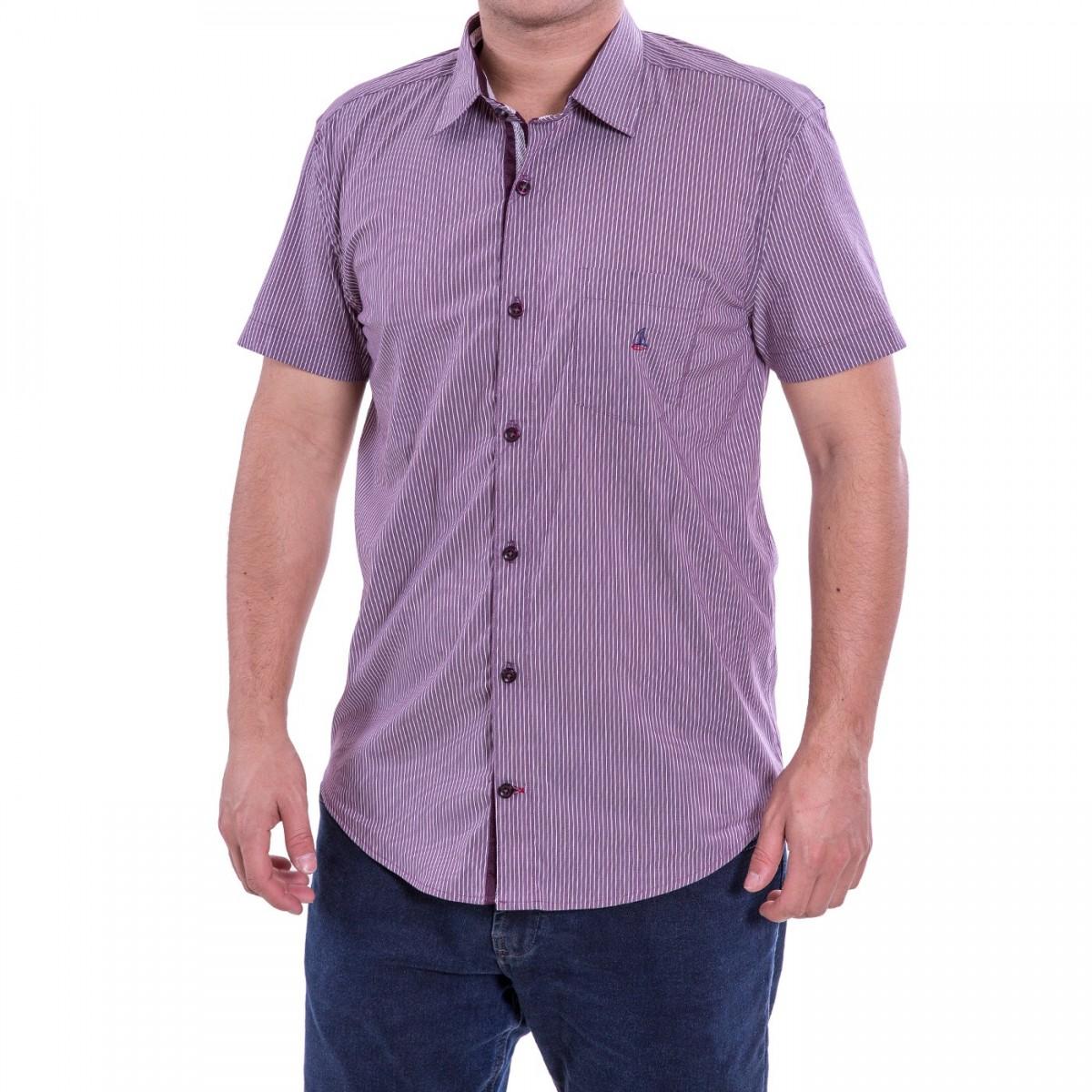 96ae1ca83cc77 Bizz Store - Camisa Masculina Porto CO Slim Manga Curta Listrada