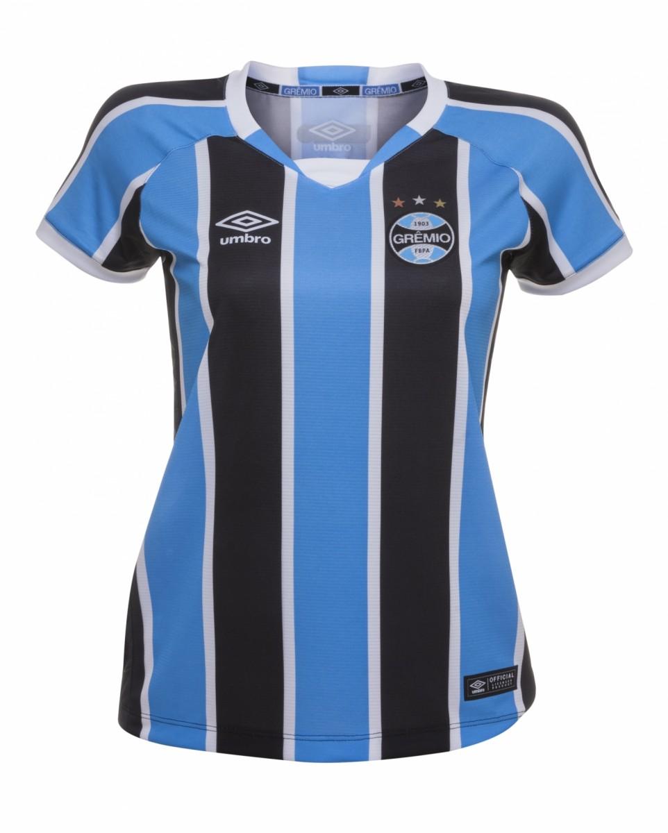 Bizz Store - Camisa Oficial Umbro Grêmio Of 2016 Feminina Tricolor 7d5fb45d84674