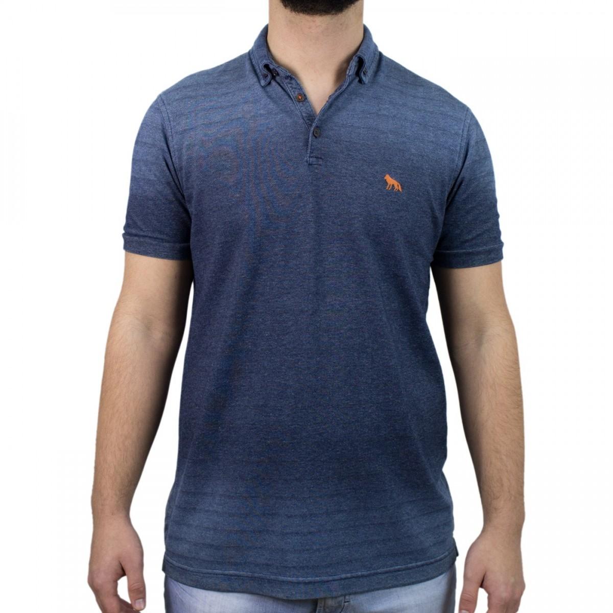 897721b4e Bizz Store - Camisa Polo Masculina Acostamento Manga Curta Marinho
