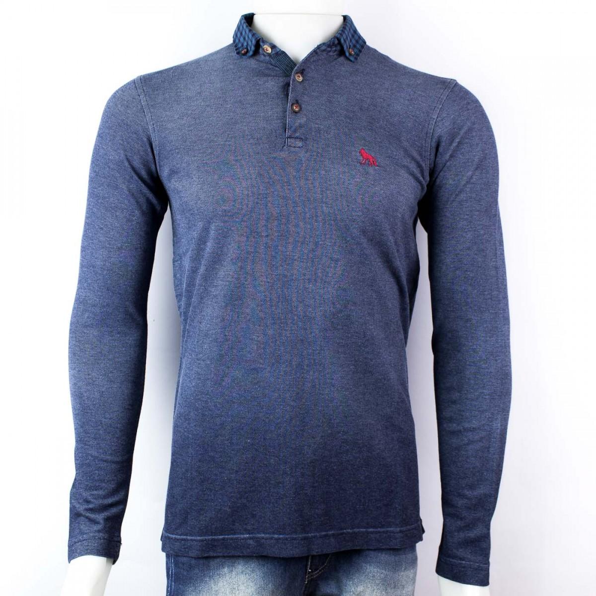 f7de1d0051 Bizz Store - Camisa Polo Masculina Acostamento Manga Longa Azul